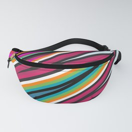 Hot Colored Retro Wave Stripe Lines Fanny Pack