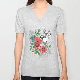 Bat and Flowers Unisex V-Neck
