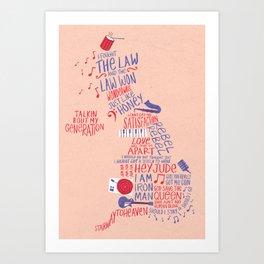 Map of British music  Art Print