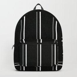 White & Gray Pinstripes on Scratched Black Grunge Illustration - Graphic Design Backpack