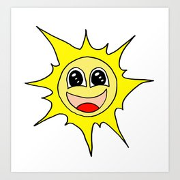 Drawn by hand a funny happy smiling sun for children and adults Art Print