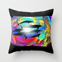 dolphins Throw Pillows featuring Dolphins by JT Digital Art