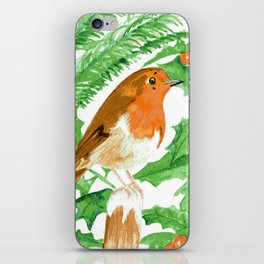 Robin with holly snow scene iPhone Skin
