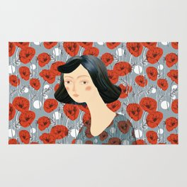 Girl on poppies Rug