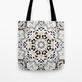 Floral Multicolored Mandala with Light Linen Texture Tote Bag