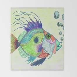 Funky Fish Art - By Sharon Cummings Throw Blanket