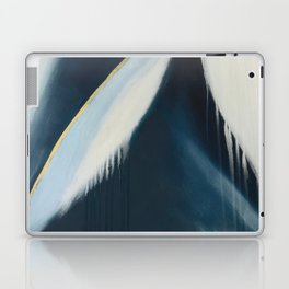 Daydream: a pretty, minimal, abstract, mixed-media piece in blue and gold by Alyssa Hamilton Art Laptop & iPad Skin