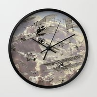 airplanes Wall Clocks featuring airplanes 2 by Кaterina Кalinich
