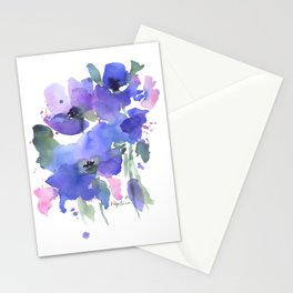 Blue Poppies and Wildflowers Stationery Cards