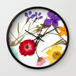 Pressed flower arrangement #2 Wall Clock