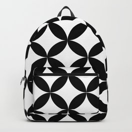 Vedic Geometric Circles Pattern White and Black Backpack