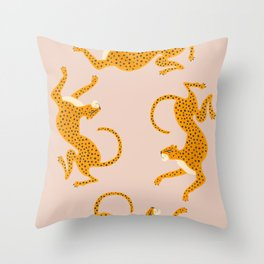 Leopard Race - pink Throw Pillow