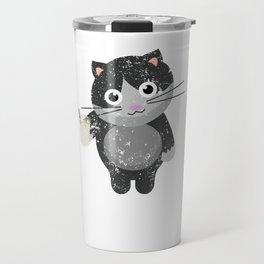 Funny Cat Drinking Eggnog Cat Lover Travel Mug