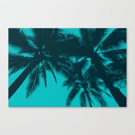 Blue palms in summer Canvas Print