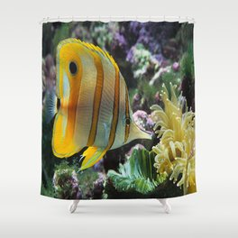 Yellow Longnose Butterfly Fish Shower Curtain