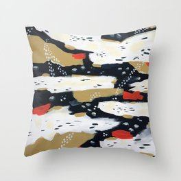 Spotted Abstract in Neutral Throw Pillow