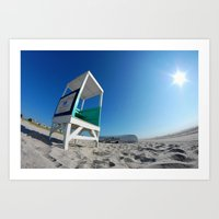 Beach Lifeguard Stand and Rowboat, Ocean City NJ Art Print