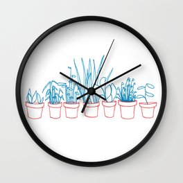Teal Plants in Red Pots Wall Clock