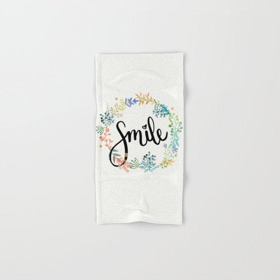 Smile, Watercolor Flowers Hand & Bath Towel