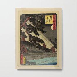 Isshusai Kunikazu - 100 Views of Naniwa: Night View of the Octopus Pine (1860s) Metal Print