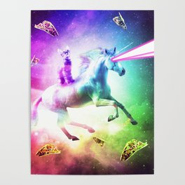 Space Cat Riding Unicorn - Laser, Tacos And Rainbow Poster