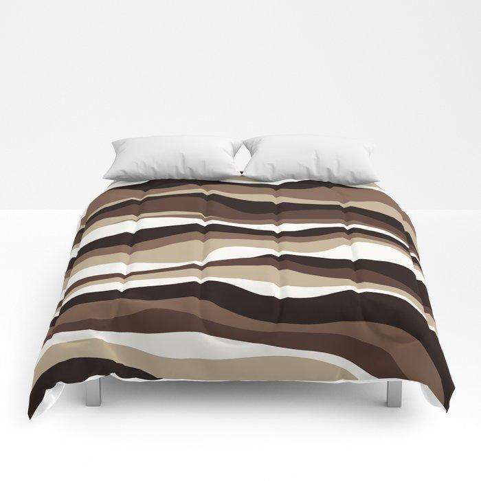 Cordillera Stripe: Brown  Cookies and Cream Combo Comforters