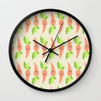 vegetable Wall Clocks featuring VEGETABLE-CARROTS! by Claudia Ramos Designs
