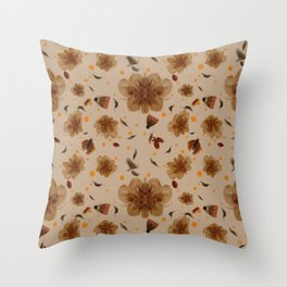Vintage Moths and Flowers pattern Throw Pillow