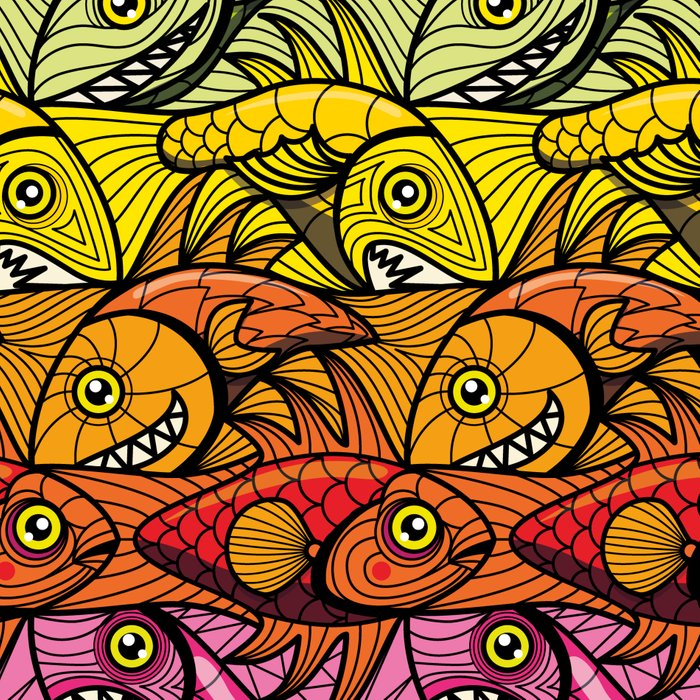 Escher Fish Rainbow Pattern Leggings