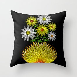 String Art Flowers Throw Pillow