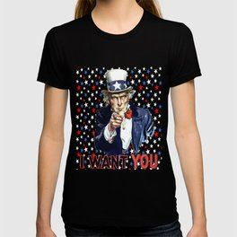 Uncle Sam I Want You With Star Pattern Background T-shirt