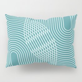 Geometric Lines in Teal Green Pillow Sham