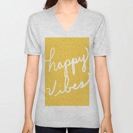Happy Vibes Yellow Unisex V-Neck