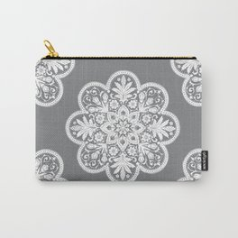 Floral Doily Pattern | Grey and White Carry-All Pouch