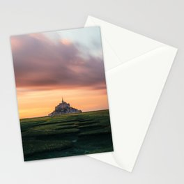 Sunset at Mont Saint Michel Stationery Cards