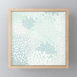 Festive, Floral Prints, Soft Teal, Mint Green and White, Modern Print Art Framed Mini Art Print