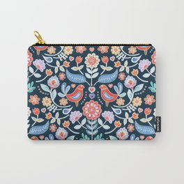 Happy Folk Summer Floral on Navy Carry-All Pouch