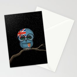 Baby Owl with Glasses and Fiji Flag Stationery Cards