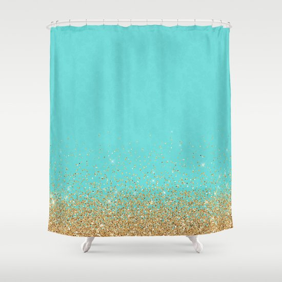 Sparkling Gold Glitter Confetti On Aqua Teal Damask Background Shower Curtain By Better Home
