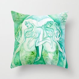 Goddess of Pisces - A Water Element Throw Pillow
