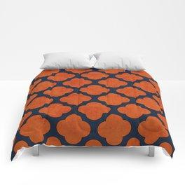 navy and orange clover Comforters