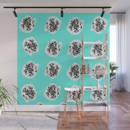 Teal Flower Pattern Wall Mural