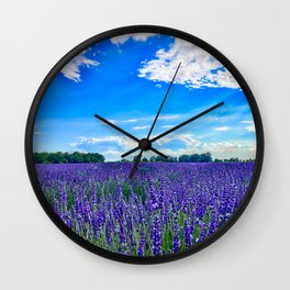 Wildflowers Blooming in a Meadow | Purple Lavender Perennials Deep Blue Sky Spring Landscape France Wall Clock