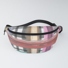 Modern pink teal black white watercolor plaid Fanny Pack