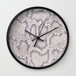 White Boa Constrictor Snake Pattern Wall Clock