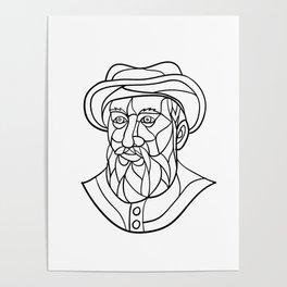 Ferdinand Magellan Mosaic Black and White Poster