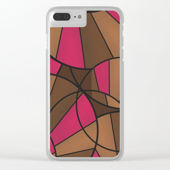 Brown pink pattern abstract . Clear iPhone Case