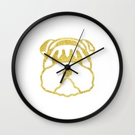 Gold Dog Card Wall Clock