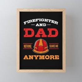 Firefighter Dad Firemen Helmet Fire Captain Flames Framed Mini Art Print