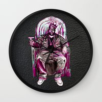 notorious big Wall Clocks featuring Notorious Big *King* by Gold Blood